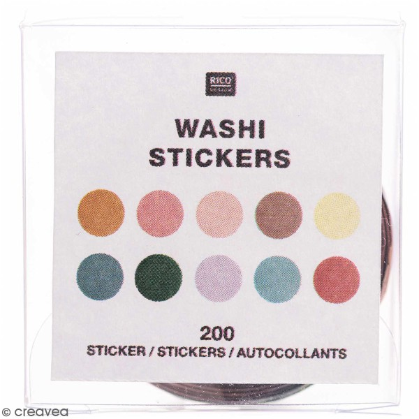 Rouleau stickers washi tape Rico Design - Ronds - 200 pcs - Photo n°1