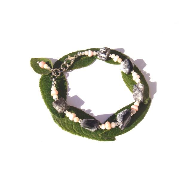 Bracelet Merlinite/Opale Rose 17 CM à 18.5 CM de poignet - Photo n°2