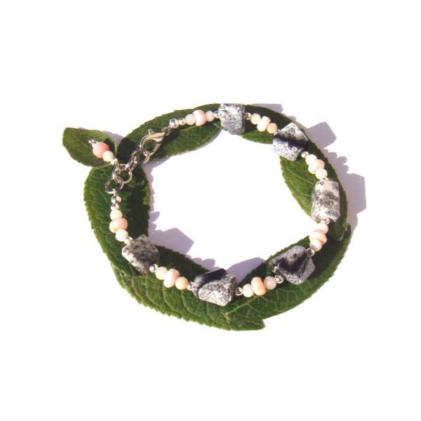 Bracelet Merlinite/Opale Rose 17 CM à 18.5 CM de poignet - Photo n°1