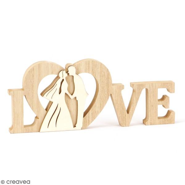 Centre de table en bois Mariage - Love - 22 x 9 x 1,8 cm - Photo n°1