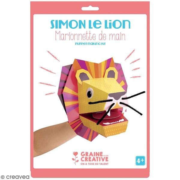 Kit marionnette de main en carton - Lion - Photo n°1