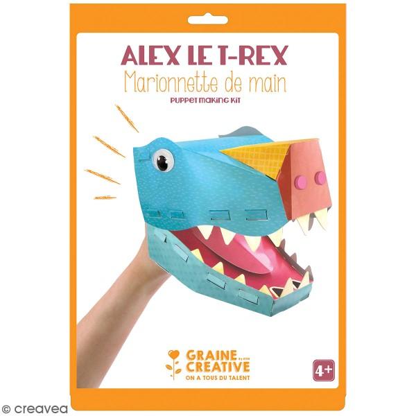 Kit marionnette de main en carton - Dinosaure T-rex - Photo n°1