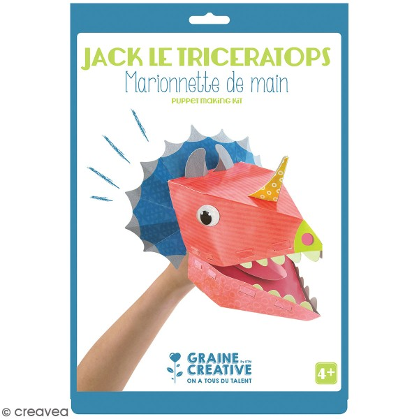 Kit marionnette de main en carton - Dinosaure Tricératops - Photo n°1
