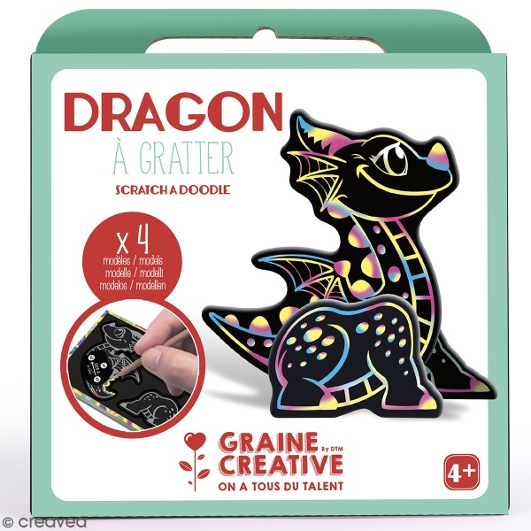 Kit cartes à gratter 3D - Dragon - 4 Cartes - Photo n°1