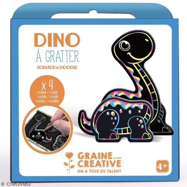 Kit cartes à gratter 3D - Dinosaure - 4 Cartes - Photo n°1