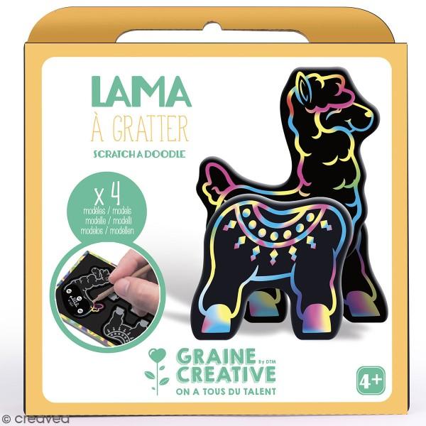 Kit cartes à gratter 3D - Lama - 4 Cartes - Photo n°1
