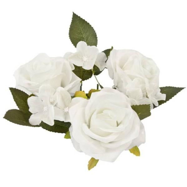 Centre de table 3 roses blanches et feuillage - Photo n°1