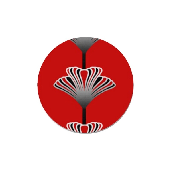 2 Cabochons 12 mm, Verre, Art Deco Rouge 3 - Photo n°1