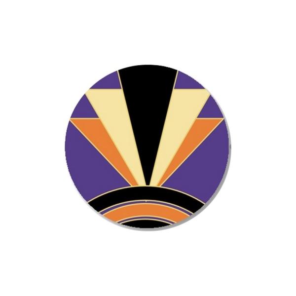 2 Cabochons 14 mm, Verre, Art Deco Violet 1 - Photo n°1
