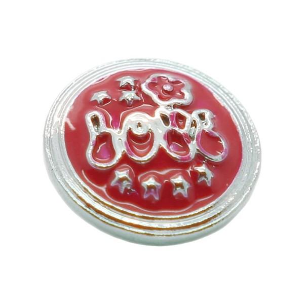 Bouton pression en laiton 19 mm fleur étoiles rouge - Photo n°1