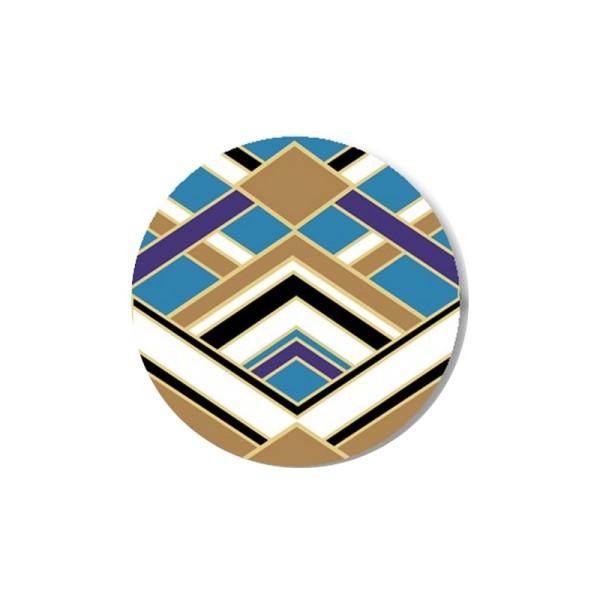 2 Cabochons 10 mm, Verre, Art Deco Bleu 2 - Photo n°1