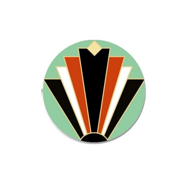 2 Cabochons 20 mm, Verre, Art Deco Noir et Orange 1 - Photo n°1