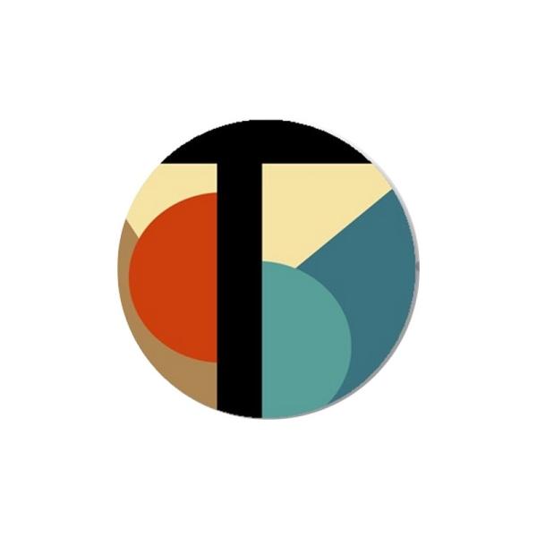 1 Cabochon 25 mm  Verre,Art Deco Noir et Orange 2 - Photo n°1