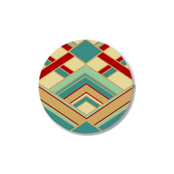 2 Cabochons 14 mm, Verre, Art Deco Bleu Vert et Rouge 1 - Photo n°1