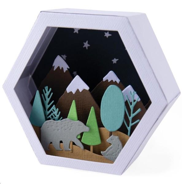 Set de matrice Sizzix Thinlits - Boîte 3D scène d'hiver - Photo n°1