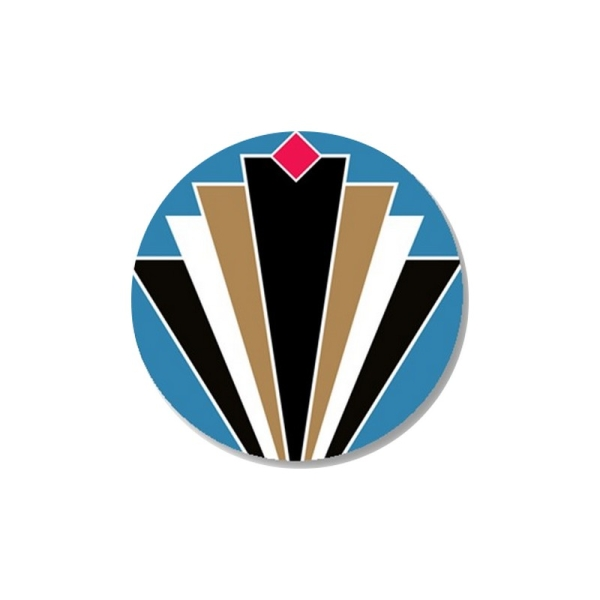 1 Cabochon 25 mm  Verre,Art Deco Bleu 1 - Photo n°1