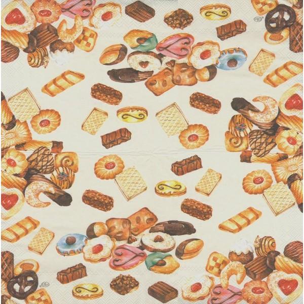 4 Serviettes en papier Pâtisserie Cookies Format Lunch Decoupage Decopatch L-498160 IHR - Photo n°1