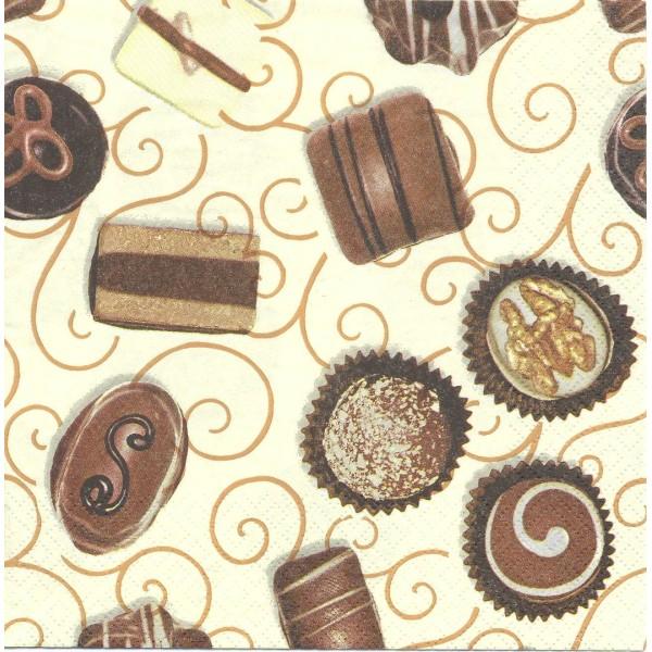 4 Serviettes en papier Chocolats Pralines Format Lunch Decoupage Decopatch Ti-Flair  341282 - Photo n°1