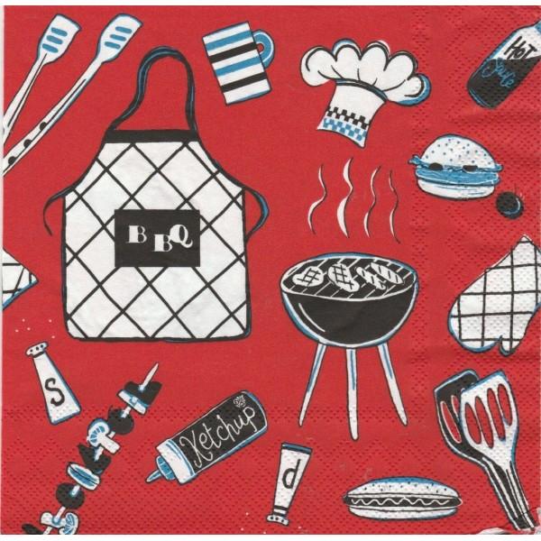 4 Serviettes en papier Barbecue Format Lunch Decoupage Decopatch L-478010 IHR - Photo n°1