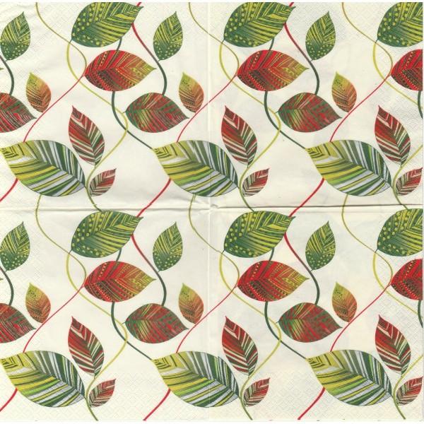 4 Serviettes en papier Feuilles enlacées Format Lunch Collage Decopatch SDOG-010501 Pol-Mak - Photo n°1