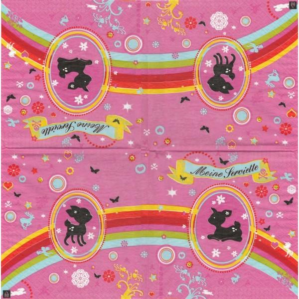 4 Serviettes en papier Médaillon Faon Format Lunch Decoupage Decopatch PO104080 Design House - Photo n°1
