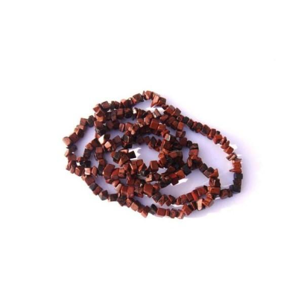 Obsidienne Acajou ( Mahogany ) : 50 perles chips 5/8 MM de diamètre environ - Photo n°1