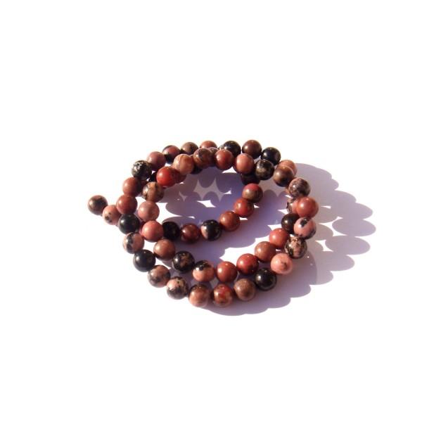 Rhodonite multicolore : 10 perles 6 MM de diamètre - Photo n°1