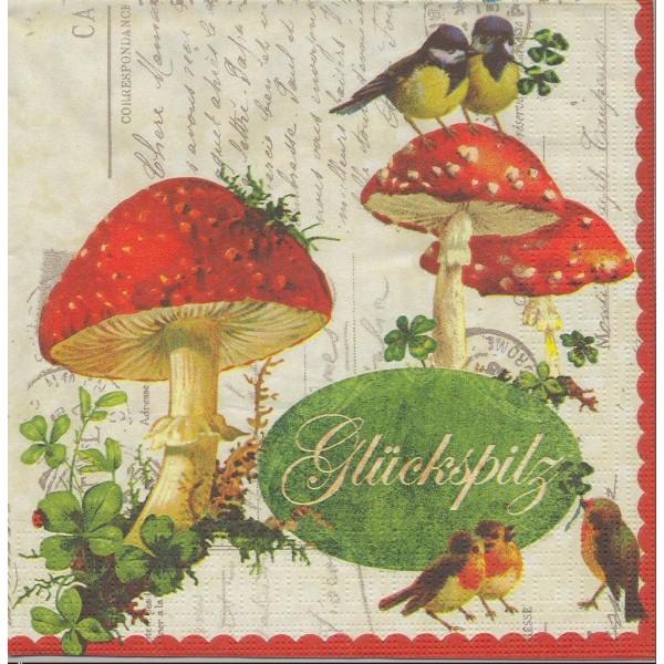 4 Serviettes en papier Chance Champignon Oiseau Format Lunch Decoupage Decopatch 7491 PPD - Photo n°1