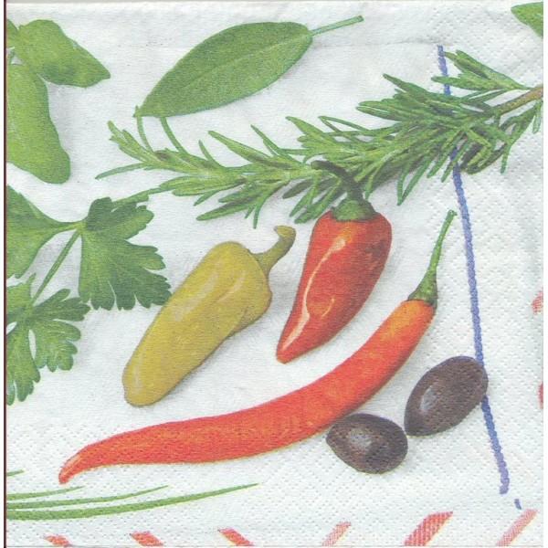 4 Serviettes en papier Cuisine Piment Aromate Format Lunch 3215-09033 Twentyfive Decoupage Decopatch - Photo n°1