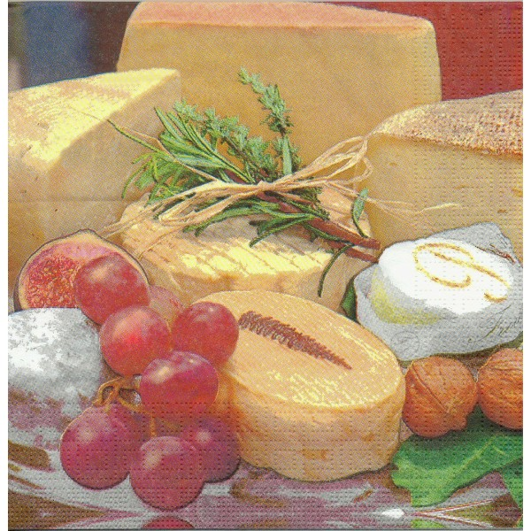 4 Serviettes en papier Plateau de Fromage Format Lunch Decoupage Decopatch 5963 PPD - Photo n°1