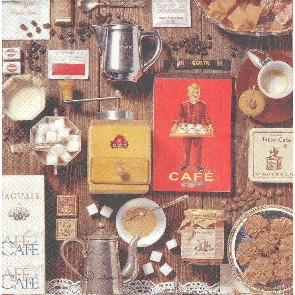 4 Serviettes en papier Café Collage Format Lunch Decoupage Decopatch L-518300 IHR - Photo n°1