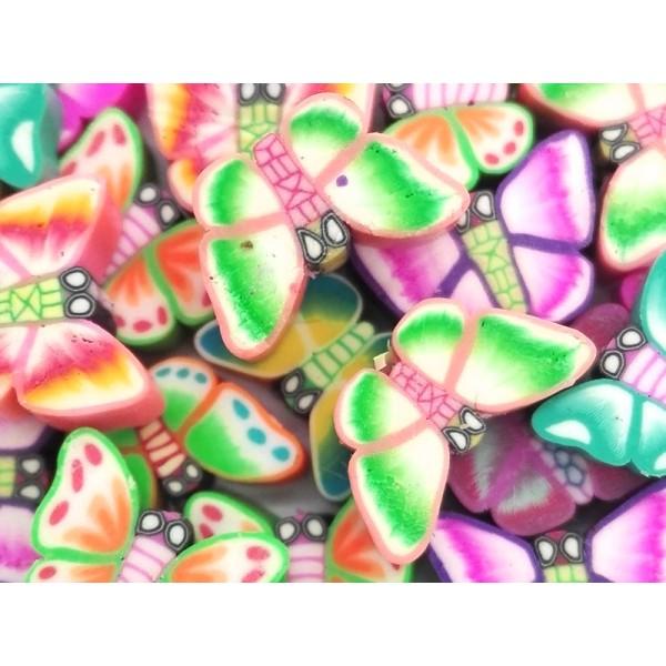Mix de 20 Perles Papillon en Pâte Polymère - Photo n°1