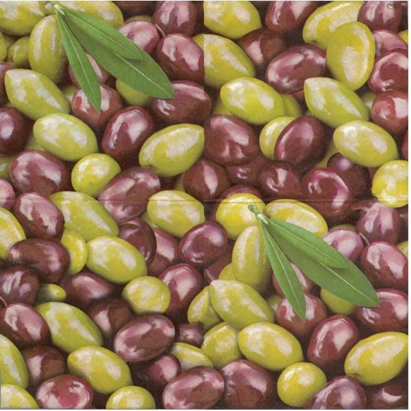 4 Serviettes en papier Olive noire et verte Format Lunch Decoupage Decopatch L-191100 Paw - Photo n°1