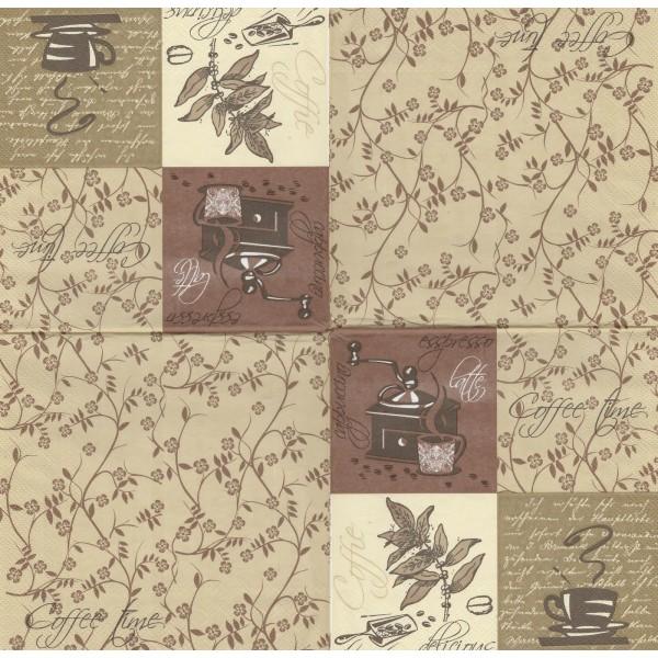 4 Serviettes en papier Café Expresso Moulin Format Lunch Decoupage SLOG-003501 Pol-Mak - Photo n°1