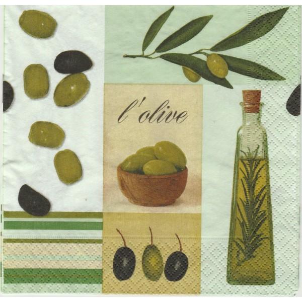 4 Serviettes en papier Cuisine L'Olive Huile Format Lunch Decoupage Decopatch 20501 Paper+Design - Photo n°1