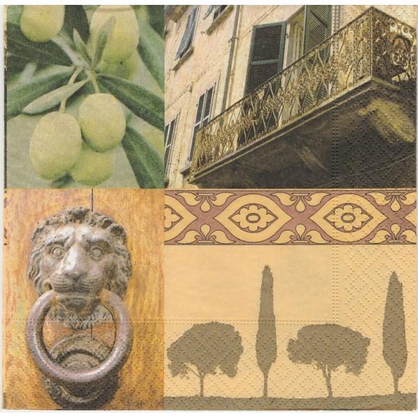 4 Serviettes en papier Olives Italie Toscane Format Lunch Decoupage Decopatch 1210-7009 Atelier - Photo n°1