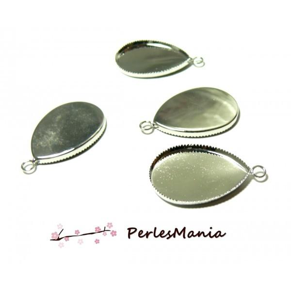 BN1121805 PAX 10 Supports de pendentif Goutte Plateau 18 par 25mm metal Argent Platine - Photo n°1