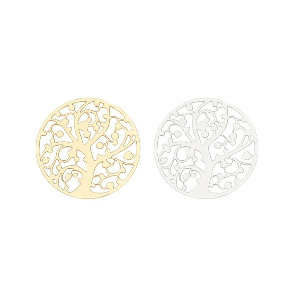 PS11131897 PAX 5 Estampes pendentif Arbre à vie dans Cercle 22mm métal couleur Argent Platine - Photo n°2