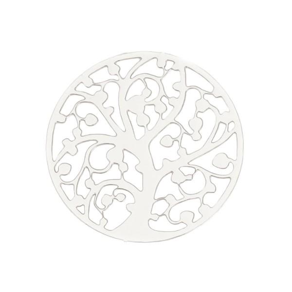 PS11131897 PAX 5 Estampes pendentif Arbre à vie dans Cercle 22mm métal couleur Argent Platine - Photo n°1