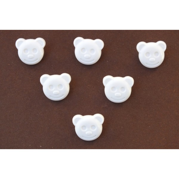 LOT 6 BOUTONS : tete ours blanc 14mm - Photo n°1