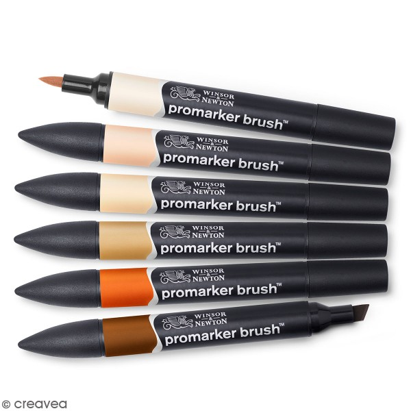 Feutres à alcool PromarkerBrush - Tons de peau - 6 pcs - Photo n°1