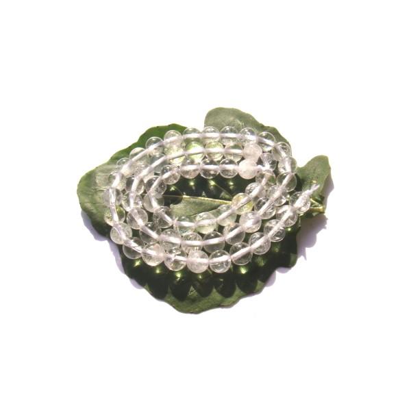 Cristal de Roche : 10 perles 6 MM de diamètre - Photo n°1
