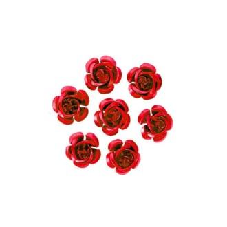 10 Perles Fleurs 15mm Rouge