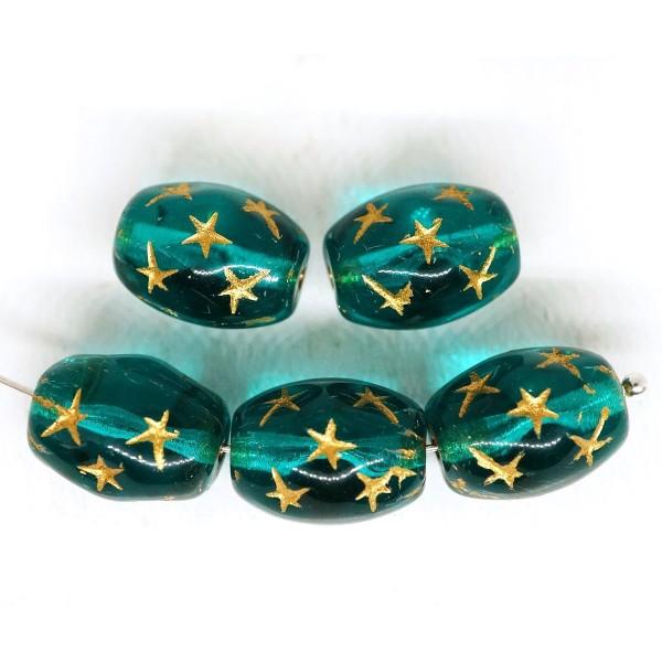 6pcs Cristal aigue-marine Bleu Turquoise Or se Laver Tube Ovale Étoiles Ovale Perles de Verre tchèqu - Photo n°1