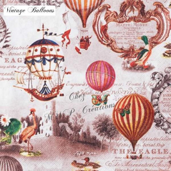 Serviettes En Papier 33X33 Cm - Lot de 5 - Vintage Balloons - Photo n°1