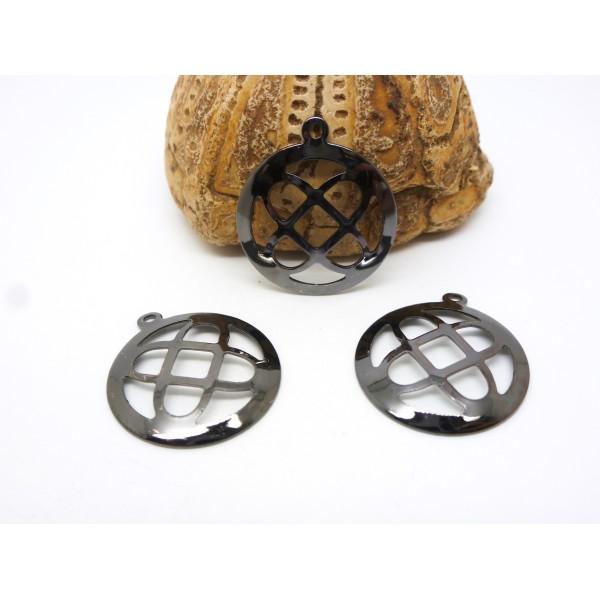 4 Breloques fines rondes et ajourées 19mm gris anthracite, gunmetal - Photo n°1