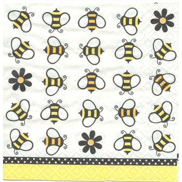 4 Serviettes en papier Abeilles Format Cocktail Decoupage Decopatch 657387 Converting - Photo n°1