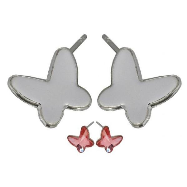2pcs 2854 Papillon de 8mm en Argent Sterling 925 Boucles d'oreille Paramètres de SWAROVSKI de la Col - Photo n°1