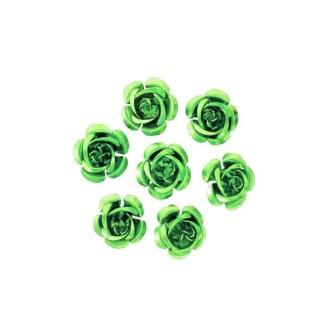 10 Perles Fleurs 17mm Vert clair