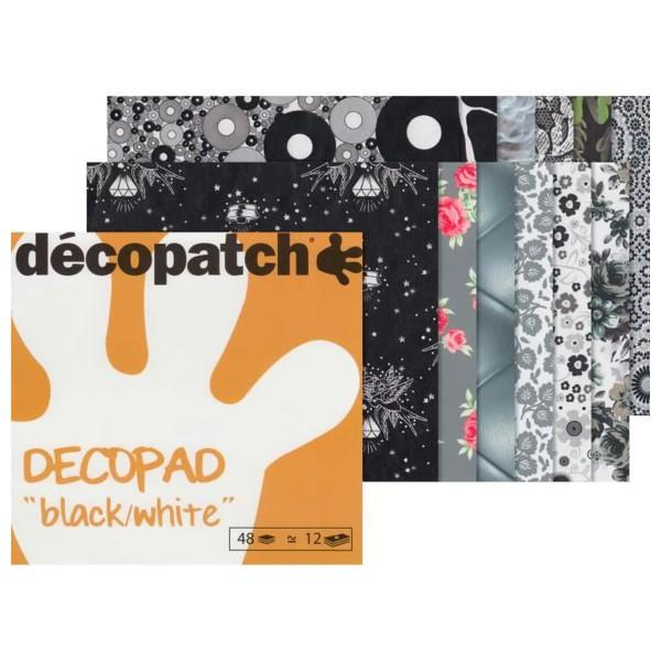 Bloc Decopad Décopatch Noir et blanc - 15 x 15 cm - 48 feuilles - Photo n°1